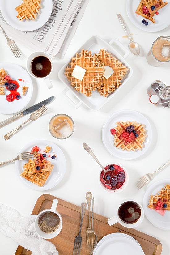 ... maple syrup all over the waffles. Enjoy with your favorite cup-a-joe