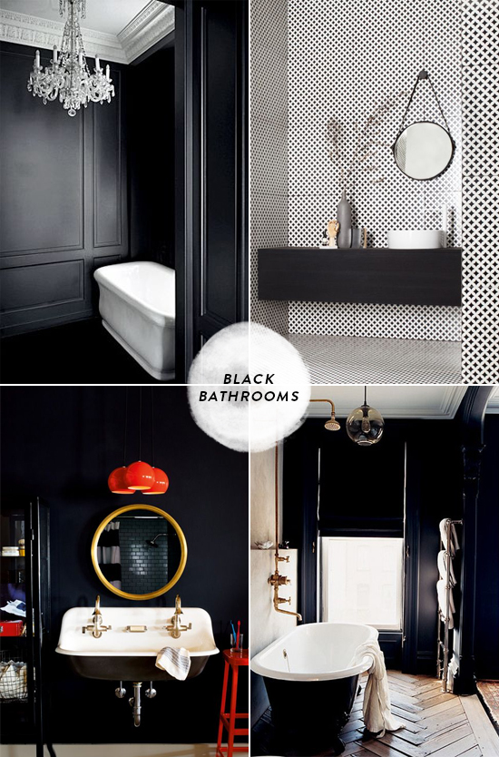 black bathrooms | designlovefest