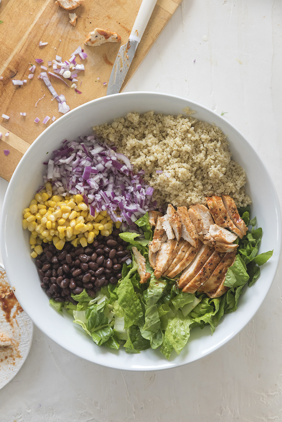 grilled chicken bbq quinoa salad | designlovefest